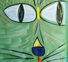 Green Beach Cat Head by ArtByLes