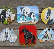 Gypsy Cob & Friesian fridge magnets by louisegreen