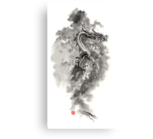 Water Wind dragon dragons sumi-e ink painting chinese zodiac five elements fantasy world art Canvas Print