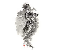 Water Wind dragon dragons sumi-e ink painting chinese zodiac five elements fantasy world art Photographic Print
