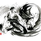 Aikido randori fight popular techniques martial arts sumi-e samurai ink painting artwork by Mariusz Szmerdt