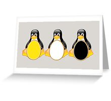 LINUX TUX PENGUIN  3 COLOR EGGS Greeting Card