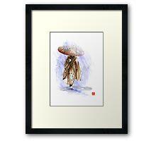 Geisha Japanese woman custom handmade paper umbrella rain Japan japanese painting art  Framed Print