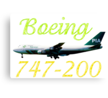 PIA Pakistan International Airlines Boeing 747-200 w text Canvas Print