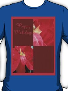 Mottled Red Poinsettia 2 Happy Holidays Q10F1 T-Shirt