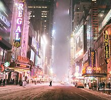 Snow on a Winter Night - Times Square - New York City by Vivienne Gucwa