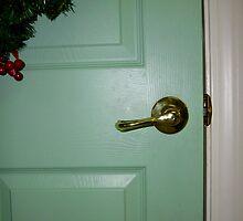 Green Wreath On The Green Door by WildestArt