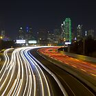 Dallas Skyline at night from I-30 by RobGreebonPhoto