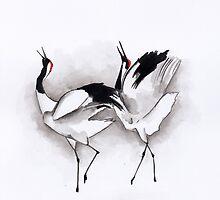 Ilustration art - Dancing cranes by Marikohandemade