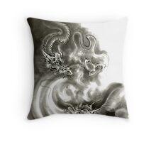 Two dragons gold fantasy dragon design sumi-e ink painting dragon art Throw Pillow