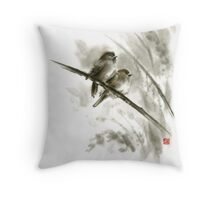 Sparrows sumi-e bird birds on branches original ink painting artwork Throw Pillow