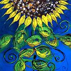 SUNFLOWER and ABSTRACT FISH Print, Beautiful, Fish Design creates Flower, MUST SEE by 17easels