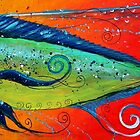 MAHI MAHI, Colorful, FUN, Abstract Fish Art Original Design from J. Vincent, MUST SEE, BEAUTIFUL by 17easels