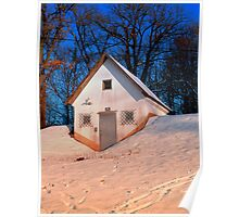 Small cottage in winter wonderland | architectural photography Poster