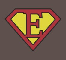 E letter in Superman style Kids Clothes