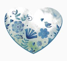 Blue heart with flowers and bird by Anna  Yudina