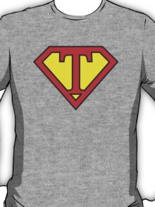 T letter in Superman style T-Shirt