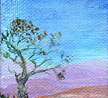 Lone Tree 2 by 3 inch miniature painting by Regina Valluzzi