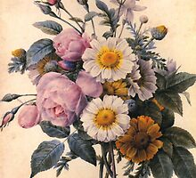 vintage botanical art, beautiful yellow daisy and pink rose flowers. by naturematters