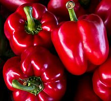 red bell peppers by David Chesluk