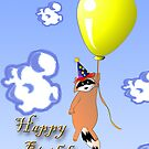 Clown Raccoon with Balloon by jkartlife