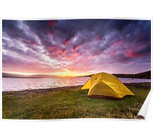 Our Tent at Sunset - Borgarvirki, Iceland Poster
