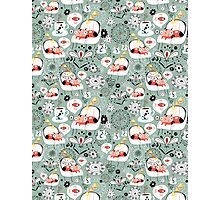 pattern with cats and mushrooms Photographic Print