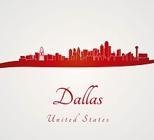 Dallas skyline in red by Pablo Romero