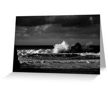 Crashing Waves at Trevone Bay in Black and White Greeting Card