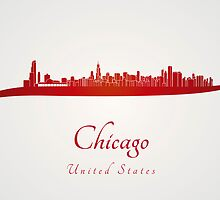 Chicago skyline in red by Pablo Romero