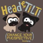 Pug Head Tilt (gold & blue) by boodapug
