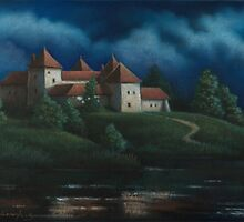 Night View Of Svirzh Castle by Vera Kalinovska