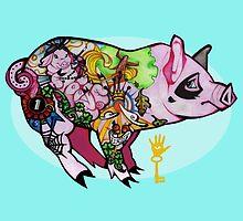 Inked piggy by Amanda Balboa