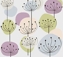 Pastel dandelion flowers background by Ana Marques