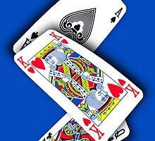 Smartphone Case - Ace King Queen - Blue by Mark Podger