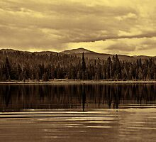 Moose Lake Towards Survey Peak (Toned black & white) by Brenton Cooper