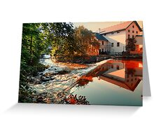 The river, a country house and reflections | waterscape photography Greeting Card