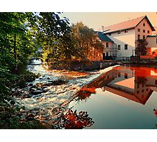 The river, a country house and reflections | waterscape photography Photographic Print