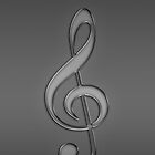 Treble Clef Music notes light grey by CreativeImage
