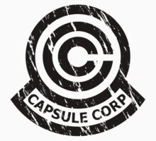 Capsule Corporation Classic Black Vintage Logo (Dragonball Z, Large) by Larsonary