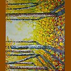 Autumn leaves in forest painting  by CreativeImage