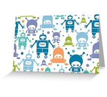 Colorful fun robots pattern Greeting Card