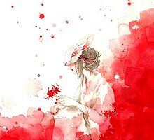 TRANDITIONAL CHINESE PAINTING-RED GIRL by deviloblivious