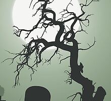 Halloween frightening dead tree graveyard by majuli1990