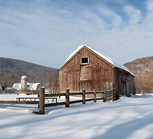 Snowy New England Barns  by Bill Wakeley
