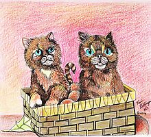 Two Orange Kittens in a Basket by Kevin Dellinger