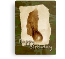 Happy Birthday Greeting Card - Antique Leather Powder Flask Metal Print