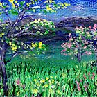 spring in the mountains at dusk 2x3 inch miniature painting by Regina Valluzzi