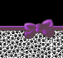 Dog Paws, Traces -  Ribbon and Bow - White Black Purple by sitnica