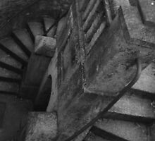 Spiral staircase leading to Tunnel beach by helenoftruro